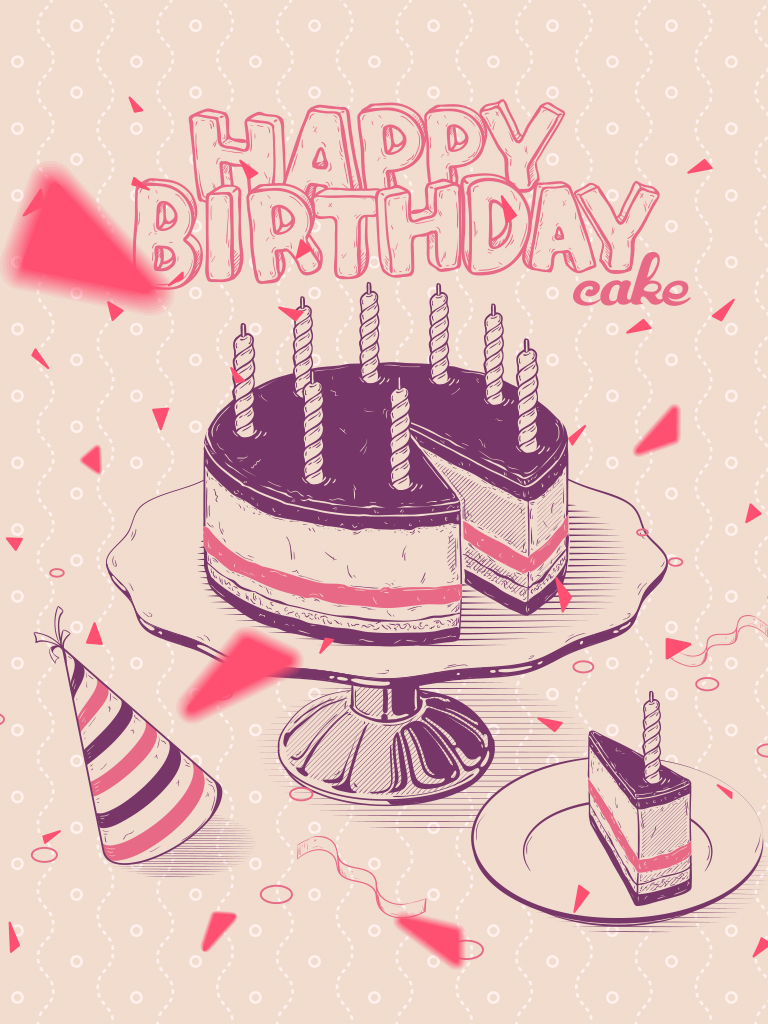 Graphical Cake B-Day card