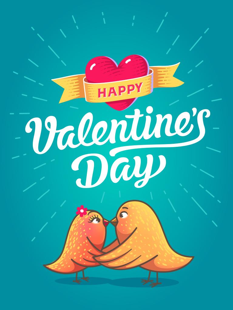 Valentine's birds card