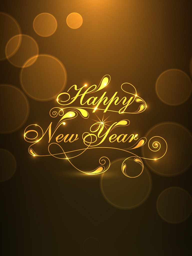 Gold and Brown New Year Card